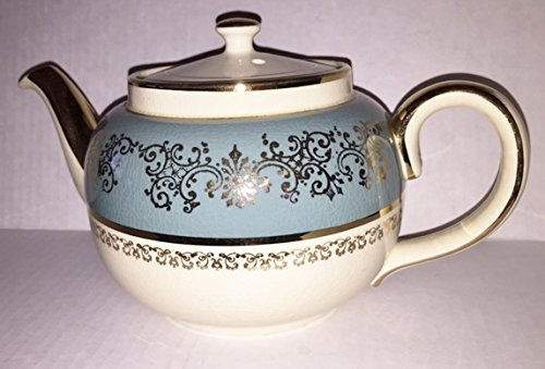 Sadler Teapot Teal and Cream with Gold Trim, Handle and Spout Made in Staffordshire, England