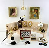 Dolls House Miniature 1:12 Scale Living Room Mixed Accessory Lot Set Mirror Clock Picturesetc