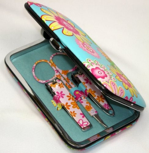 6 Piece Blue Floral Case Manicure Pedicure Nail Kit for Home or Travel