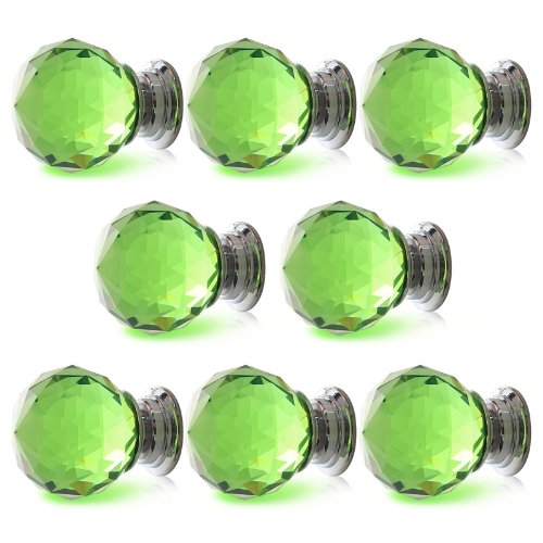 8 X LS-A010 30MM Green Crystal Glass Diamond Cut Glass Door Knobs Kitchen Cabinet Drawer knobs+Screw Home Decorating