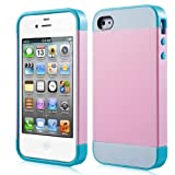 Semoss - Colore di Contrasto Custodia in Silicone e TPU Cover Rigida per iPhone 5 5S 5G - Rose/Blu
