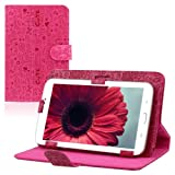 2014 Amonfine Universal 7 Leather Stand Case Folio Cover For 7 7 inch Android Tablet PC MID Hot Pink