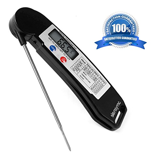 Digital Meat Food Thermometer - Siensync Super Fast Instant Read Cooking Thermometer with Collapsible Internal Probe, Electronic Thermometer for Barbecue / Grill / Milk / Candy / Bath Water (Odorless Deep Fryer compare prices)