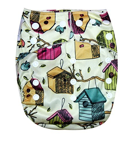 "Kawaii Baby One Size Organic Bamboo Terry Cloth Diaper with 2 Bamboo Inserts ""Bird House"" - 1"
