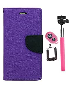 Aart Fancy Diary Card Wallet Flip Case Back Cover For Samsung E5 - (Purple) +Remote Aux Wired Fashionable Selfie Stick Compatible for all Mobiles Phones By Aart Store