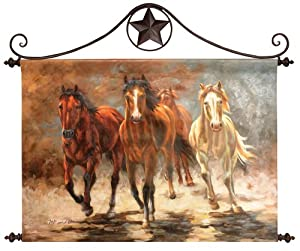 "36"" Equestrian Horse Hoofbeats Hand-Painted Oil on Canvas Hanging Wall Art Decor"