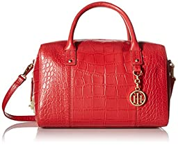 Tommy Hilfiger Faye Croco Small Duffle Shoulder Bag, Red, One Size