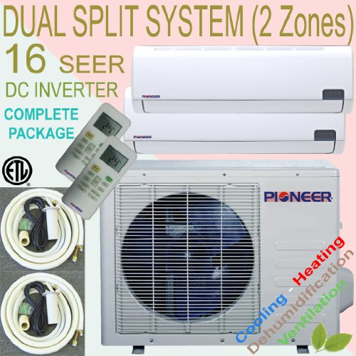 Sale!! Pioneer Ductless DUAL ZONE Multi Split INVERTER Air Conditioner, Heat Pump, 16 SEER, Cooling,...