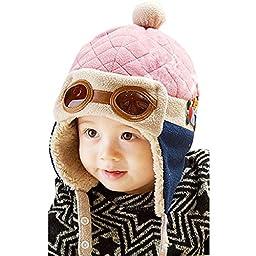 CELLTEK® Fashion Boys Cool Beanie Pilot Aviator Crochet Earflap Hats Warm Winter Cap (Pink)