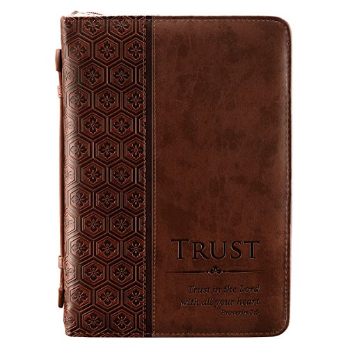 """""""Trust"""" Brown Tile Design Bible / Book Cover - Proverbs 3:5 (Large)"""