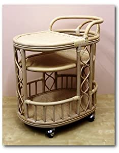 Handmade High Quality Woven Natural Rattan Wicker Serving Cart with Wheels White Wash... by Rattan Wicker Furniture