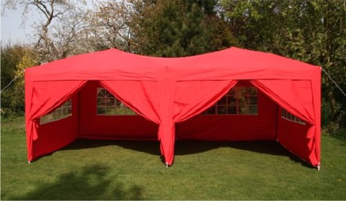 6.0x3.0mtr Red Pop Up Gazebo, FULLY WATERPROOF with Six Side Panels and Carrybag
