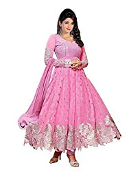 Clickedia Women Faux Georgette Dress Material (Pammi-Pink _Pink _Free Size)