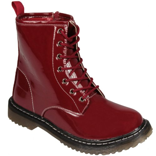 Spot On - womens Patent Boot in red Casual Boots Women -