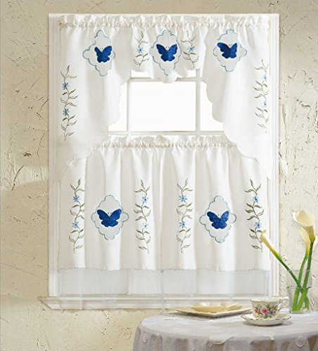 BH Home Blue Butterfly Embroidered 3 Piece Kitchen Curtain Window Treatment Set