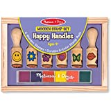 Melissa & Doug Deluxe Wooden Happy Handle Stamp Set