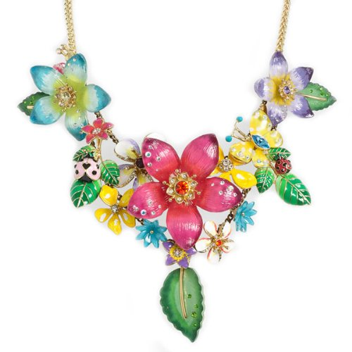 Betsey Johnson Hawaiian Luau Flower Cluster Statement Necklace