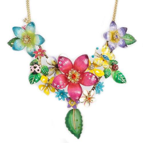 Betsey Johnson Hawaiian Luau Flower Cluster Statement Necklace