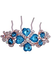 Pink Rose - Complement Collection Blue Gold Alloy Stone Bridal Butterfly Charm Hair Pin For Women (Head Gear/Juda...