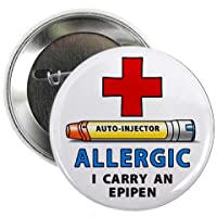 ALLERGY ALERT I Carry an EPIPEN Yellow Medical Alert 2.25 inch Pinback Button Badge from Creative Clam