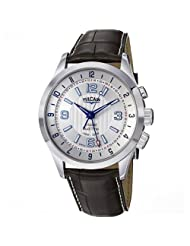 Vulcain Aviator Dual Time Men's Brown Leather Strap Mechanical Alarm Watch 100133.210LF