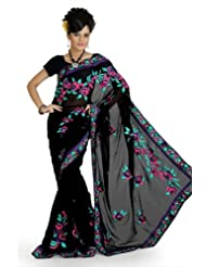 Designersareez Women Faux Georgette Embroidered Black Saree With Unstitched Blouse(684)