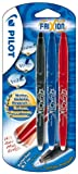 Pilot Frixion Erasable Rollerball 0.7 mm Tip (Pack of 3) - Black/Red/Blue