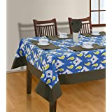House This! Kasuri 8 Seater Table Cover, 8 Napkins And 1 Runner - Blue (TCT-35B)