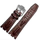 28mm Brown Leather Watch Strap White Stitching Buckle Fit AP Audemars