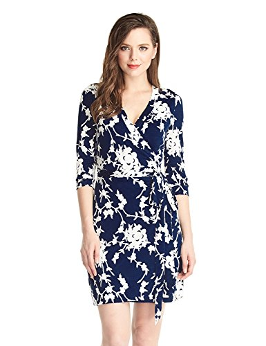 Grapent-Womens-True-Wrap-3D-Blue-and-White-Floral-Knee-Length-Dress-Formal-Work
