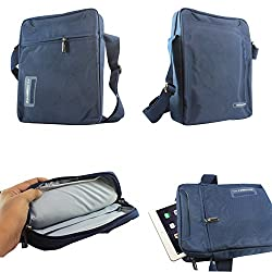DMG CoolBell Sling Bag CrossBody Shoulder Bag Carrying Case with Accessory Pockets for Samsung Galaxy Tab S SM-T805 Tablet (Navy Blue)
