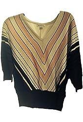 Liz Claiborne Women's Pink Wine Silver Chevron Sweater