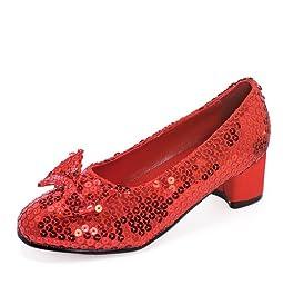 1 Inch Heel Sequined Slipper Shoe Children\'s (Red;Small)