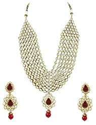 Bridal Jewellery Set Maroon Colored Seven Line Drop Shaped Reverse AD Necklace Set