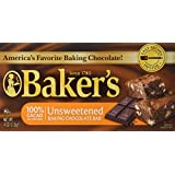 Baker's Unsweetened Baking Chocolate Bar, 4 Oz (Pack of 4)