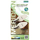 Meridian Electric 13121 LED C7 Replacement Nightlight Bulbs, Small, Clear, 2-Pack