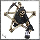 Pentagram Reaper Wall Plaque with Light 32.5 cm