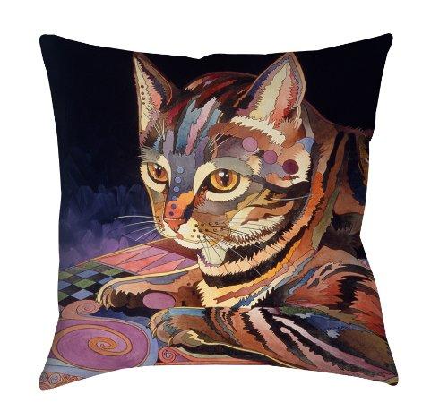 Thumbprintz Square Indoor/Outdoor Pillow, 18-Inch, Nickels The Cat front-485473
