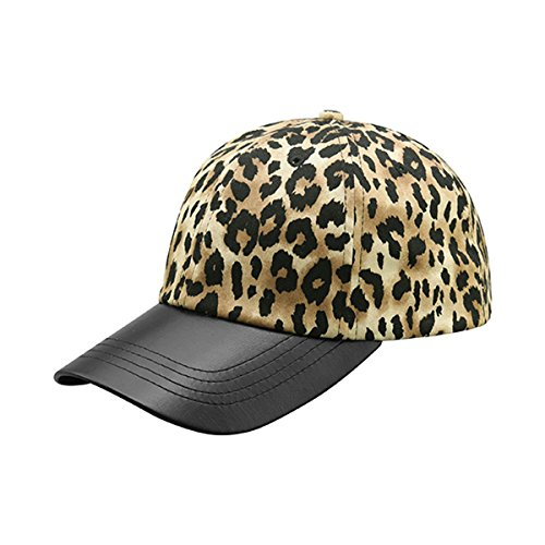 [Hats & Caps Shop LEOPARD PRINT CAP WITH TEXTURED LEATHER BILL - By TheTargetBuys | (BROWN)] (Leopard Cowboy Hat)