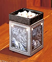 1 X Wildlife Tart Wax Warmer with a Wolf Picture on Each Side and Has a Built-in Lamp That Shines Through the Openings in the Square Bottom While the Top Removeable Plate Holds Your Favorite Scented Tarts