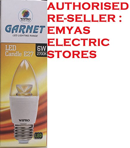 Wipro Garnet 6W E27 Candle LED Bulb (Warm White)