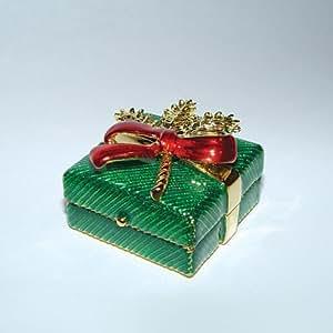 Green Holly Christmas Box Swarovski Crystals Jewelry, Trinket Pill F...