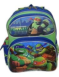 """TMNT Ninja Turtles Deluxe 3D Embossed 14"""" School Bag Backpack"""