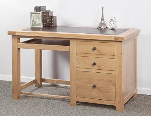 Devon Solid Oak Computer Desk / Natural Oak Lacquer Fully Assembled Desk with Leatherette Top / Living Room Furniture / Hallway Furniture / Dining Room Furniture / Bedroom Furniture