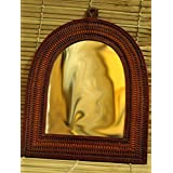 "The India Craft House Semi Oval Shaped Mirror With Leather Frame (14""x12"") LFM1412SOM"