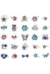 Imixlot Lots of 20PCS Children Kids Mixed Cartoon Crystal Adjustable Cute Party Rings