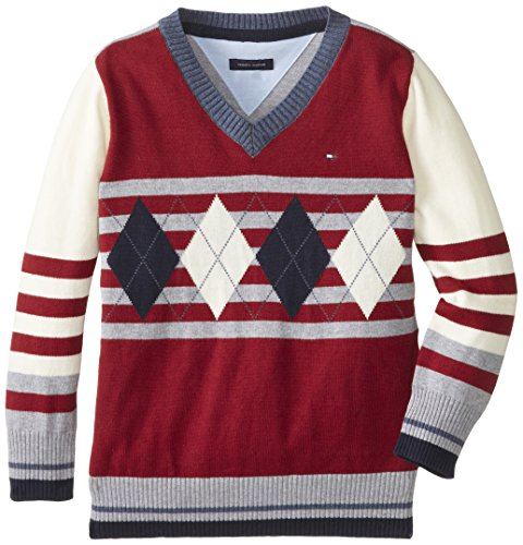 Tommy Hilfiger Little Boys' Long Sleeve Lucas Sweater, Poisonberry, 7