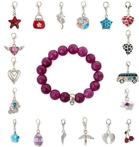 cored Armband aus Glas in lila mit Anhänger Charm Tasse mit Untertasse mit Strasssteinchen