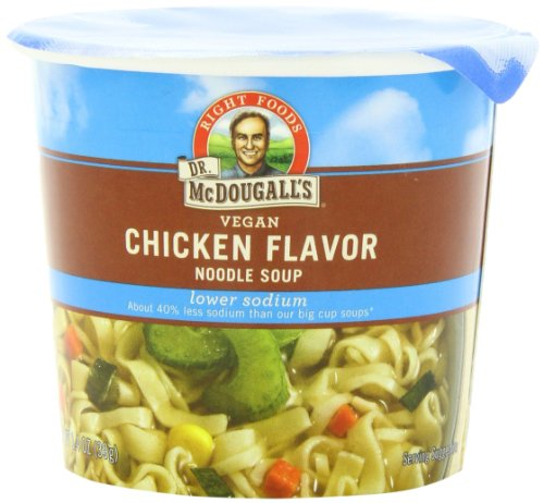 Dr. McDougall's Right Foods Vegan Chicken Flavor Noodle Soup, Light Sodium, 1.4-Ounce Cups (Pack of 6) (Chicken Flavor Soup compare prices)