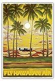ハワイ - ハワイアン航空 - ハワイ航空で空の旅を - ビンテージな航空会社のポスター c.1960s - アートポスター - 33cm x 48cm